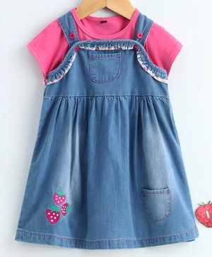 Chicklets Half Sleeves T-Shirt With Strawberry Embroidered Denim Dungaree Dress - Blue & Pink