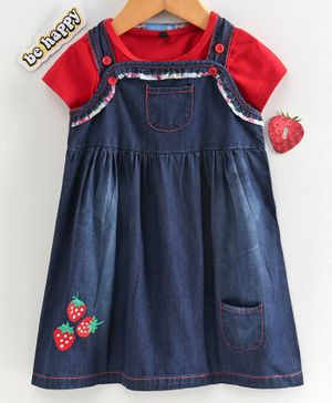 Chicklets Half Sleeves T-Shirt With Strawberry Embroidered Denim Dungaree Dress - Blue & Red