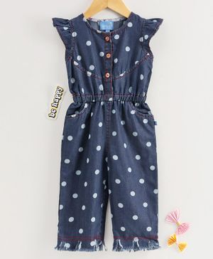 Chicklets Cap Sleeves Dots Printed Jumpsuit - Navy Blue