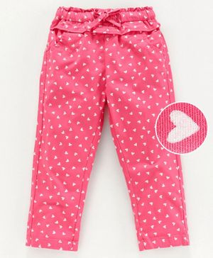 Babyoye Full Length Cotton Trouser  Hearts Print - Pink