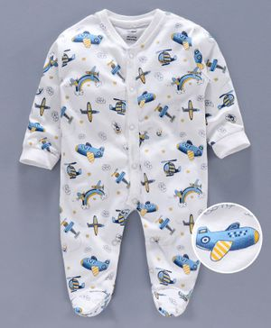 Cucumber Full Sleeves Footed Sleep Suit Aeroplane Print - White Blue