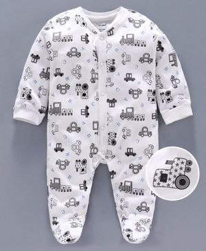 Cucumber Full Sleeves Footed Sleep Suit Vehicle Print - White