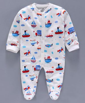 Cucumber Full Sleeves Printed Footed Sleep Suit Car Print - White