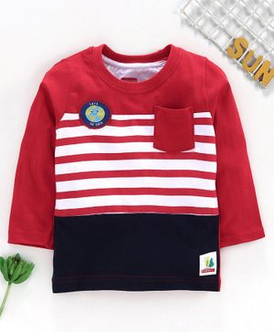 Babyhug Full Sleeves Striped Tee with Pocket - Red