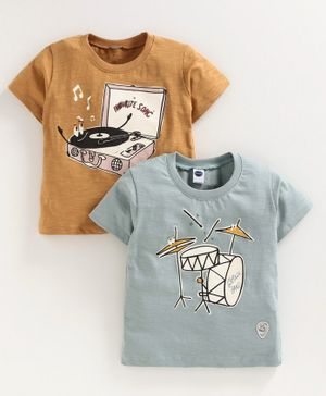 Teddy Half Sleeves Tees Drum Print Pack of 2 - Blue Light  Brown
