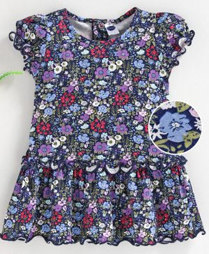 Teddy Cap Sleeves Frock Floral Print - Blue