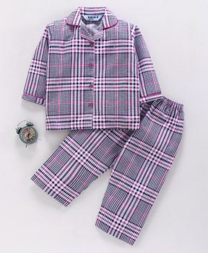 Enfance Core Checks Full Sleeves Night Suit - Pink & Grey