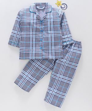 Enfance Core Checks Full Sleeves Night Suit - Blue & Grey