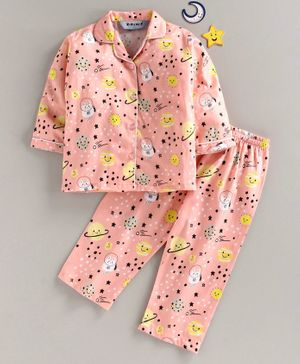Enfance Core Sun Printed Full Sleeves Night Suit - Peach