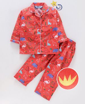 Enfance Core Animals Printed Full Sleeves Night Suit - Orange