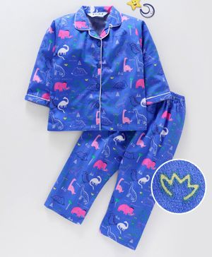 Enfance Core Animals Printed Full Sleeves Night Suit - Royal Blue