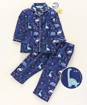 Enfance Core Animals Printed Full Sleeves Night Suit - Navy Blue