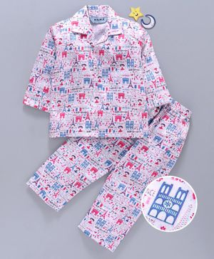 Enfance Core Eiffel Tower Printed Full Sleeves Night Suit - Pink