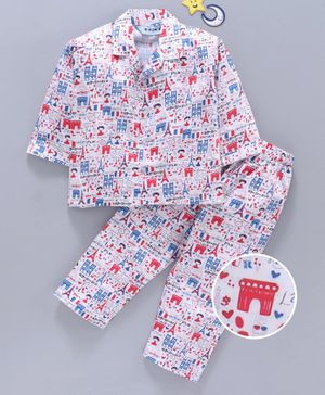 Enfance Core Eiffel Tower Printed Full Sleeves Night Suit - Red