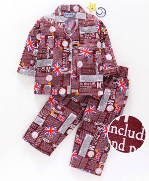 Enfance Core Flag And Text Printed Full Sleeves Night Suit - Maroon