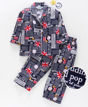 Enfance Core Flag And Text Printed Full Sleeves Night Suit - Navy Blue