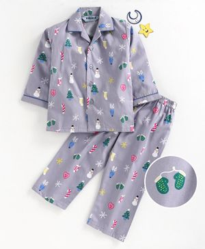 Enfance Core Snow White Printed Full Sleeves Night Suit - Grey