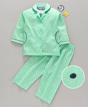 Enfance Core Polka Dot Printed Full Sleeves Night Suit - Sea Green