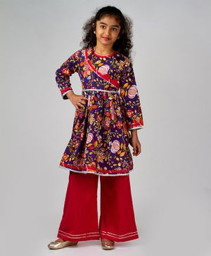 Pikaboo Flower Print Full Sleeves Kurta & Palazzo Set - Purple & Pink