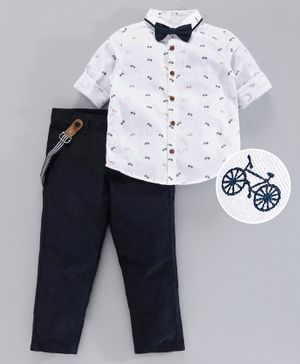 Babyoye Cotton Full Sleeves Shirt with Trousers Suspender & Bow Tie Cycle Print - White Black