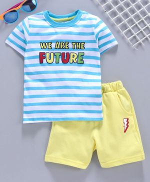 Babyhug Half Sleeves Tee & Shorts Striped Print - Blue Yellow