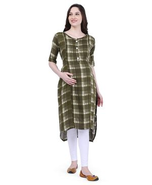 MomToBe Half Sleeves Checkered Maternity Kurta - Green