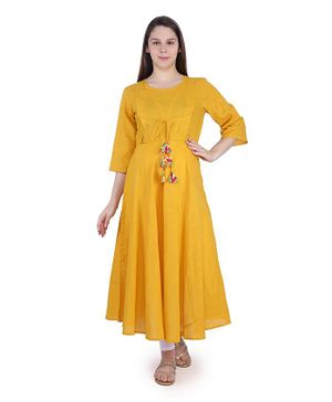 MomToBe Three Fourth Sleeves Solid Colour Maternity Kurta - Yellow