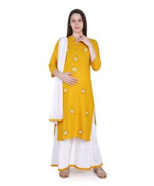 MomToBe Three Fourth Sleeves Flower Embroidery Detailing Kurta With Palazzo & Dupatta - Yellow & White
