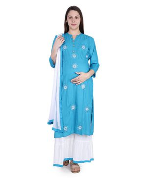 MomToBe Three Fourth Sleeves Flower Embroidery Detailing Kurta With Palazzo & Dupatta - Blue & White