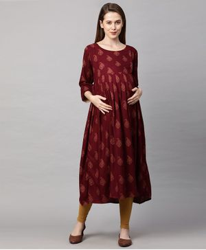 MomToBe Three Fourth Sleeves Block Print Detailing Maternity Kurta - Red