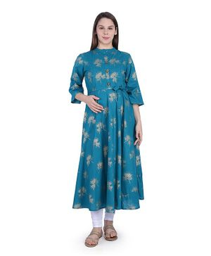 MomToBe Three Fourth Sleeves Gold Foil Printed Maternity Kurta - Blue