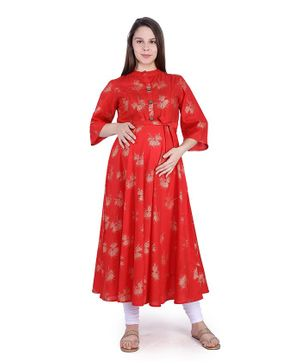 MomToBe Three Fourth Sleeves Gold Foil Printed Maternity Kurta - Red