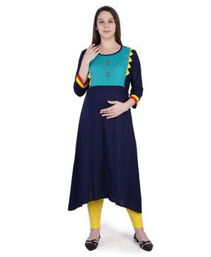 MomToBe Three Fourth Sleeves Colour Bock Pattern Maternity Kurta - Navy Blue