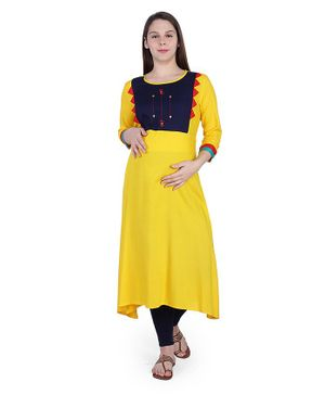 MomToBe Three Fourth Sleeves Colour Bock Pattern Maternity Kurta - Yellow