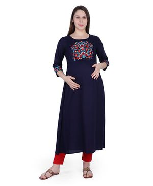 MomToBe Three Fourth Sleeves Flower Embroidery Detailing Maternity Kurta - Navy Blue