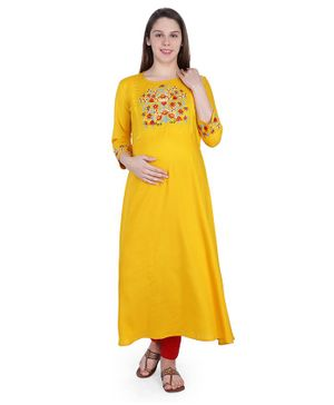 MomToBe Three Fourth Sleeves Flower Embroidery Detailing Maternity Kurta - Yellow