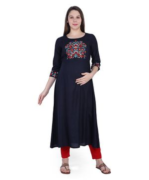 MomToBe Three Fourth Sleeves Flower Embroidery Detailing Maternity Kurta - Black
