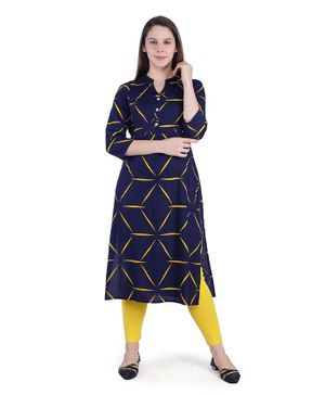 MomToBe Three Fourth Sleeves Printed Maternity Kurta - Dark Blue