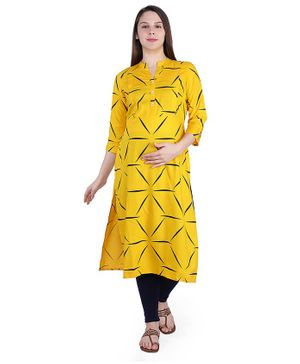 MomToBe Three Fourth Sleeves Printed Maternity Kurta - Yellow
