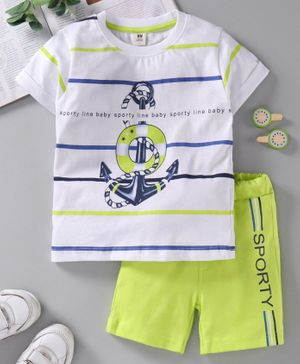 ToffyHouse Half Sleeves Stripe Tee & Shorts Anchor Print - White Light Green