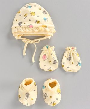 Cucumber Printed Cap & Mittens with Booties - Cream