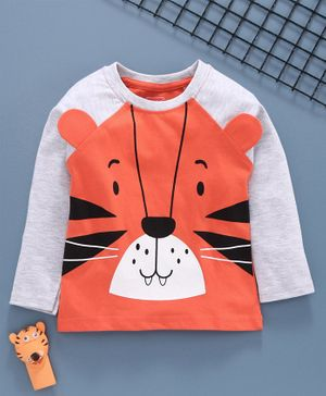 Babyhug Raglan Sleeves Tee Tiger Face Print - Grey Orange