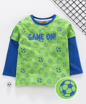 Babyhug Full Sleeves Tee Ball Print - Green