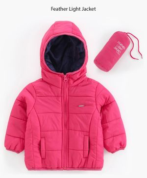 Babyoye Polyester Full Sleeves Hooded Padded Jacket With Pouch - Pink