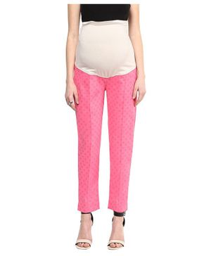 Mamacouture Dot Printed Full Length Pants - Pink