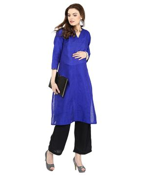 Mamacouture Three Fourth Sleeves Kurta - Royal Blue