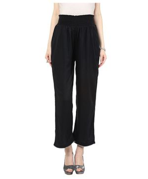Mamacouture Solid Full Length Palazzo Pants - Black