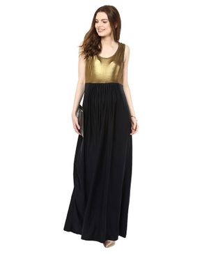 Mamacouture Solid Sleeveless Long Gown - Gold & Black
