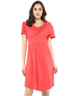 Mamacouture Half Sleeves Cowl Neck Maternity Dress - Coral