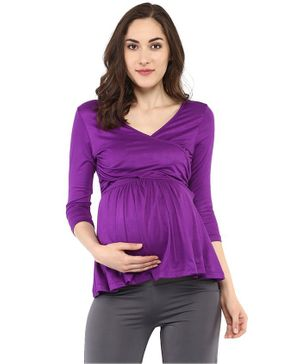 Mamacouture Solid Three Fourth Sleeves Nursing Maternity Top - Purple